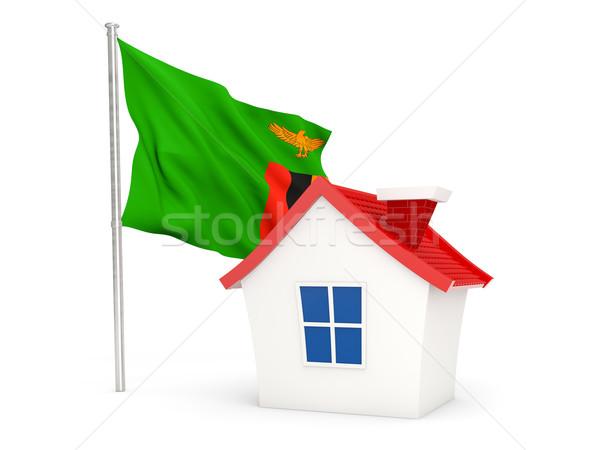 Ev bayrak Zambiya yalıtılmış beyaz seyahat Stok fotoğraf © MikhailMishchenko