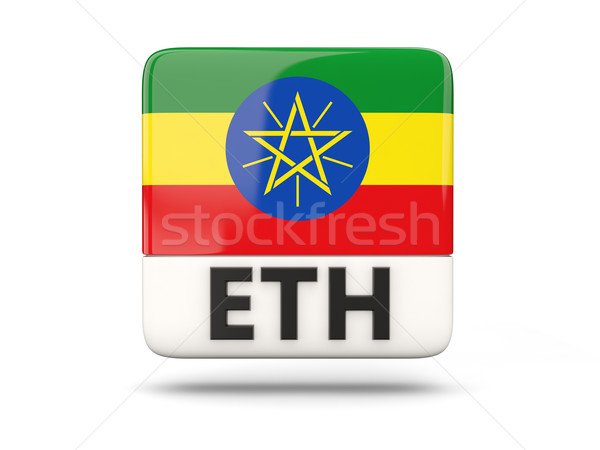 Square icon with flag of ethiopia Stock photo © MikhailMishchenko
