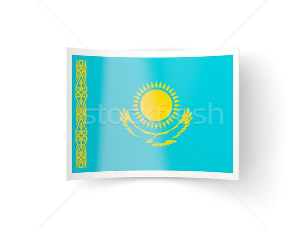 ícone bandeira Cazaquistão isolado branco país Foto stock © MikhailMishchenko