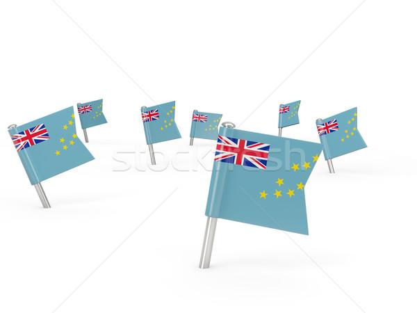 Praça bandeira Tuvalu isolado branco país Foto stock © MikhailMishchenko