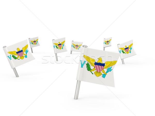 Vierkante vlag Virgin Islands geïsoleerd witte teken Stockfoto © MikhailMishchenko