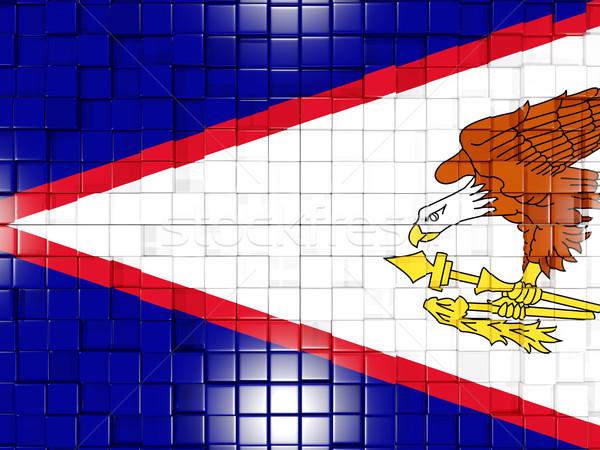 Vierkante onderdelen vlag Amerikaans Samoa 3D mozaiek Stockfoto © MikhailMishchenko