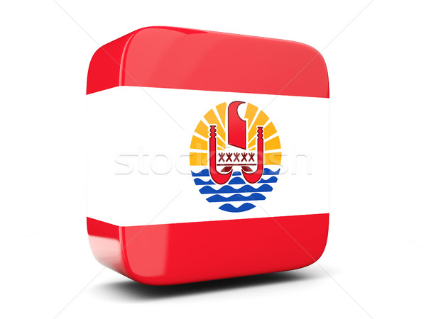 Square icon with flag of french polynesia square. 3D illustratio Stock photo © MikhailMishchenko