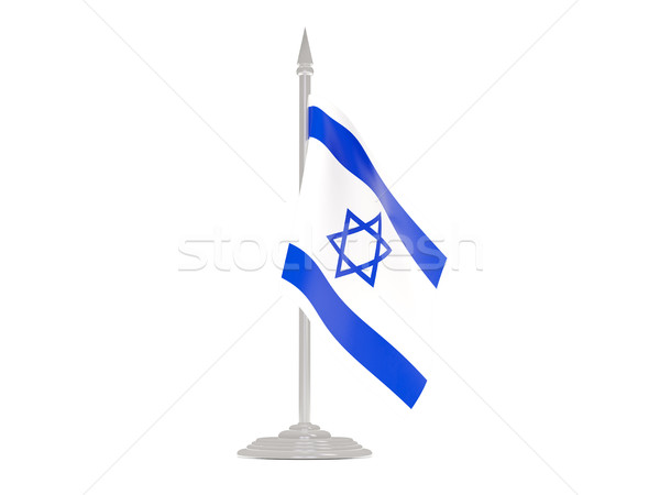 флаг Израиль флагшток 3d визуализации изолированный белый Сток-фото © MikhailMishchenko
