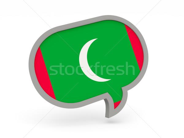 Sohbet ikon bayrak Maldivler yalıtılmış beyaz Stok fotoğraf © MikhailMishchenko