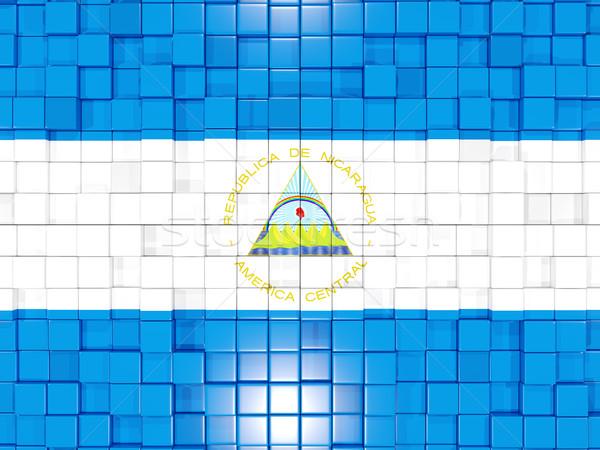 Tér alkatrészek zászló Nicaragua 3d illusztráció mozaik Stock fotó © MikhailMishchenko