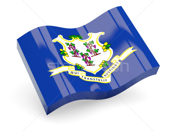 Flag of connecticut, US state wave icon Stock photo © MikhailMishchenko