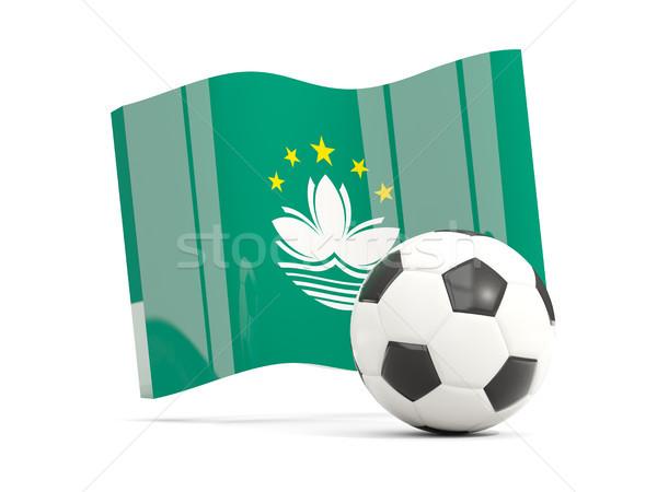 Football with waving flag of macao isolated on white Stock photo © MikhailMishchenko