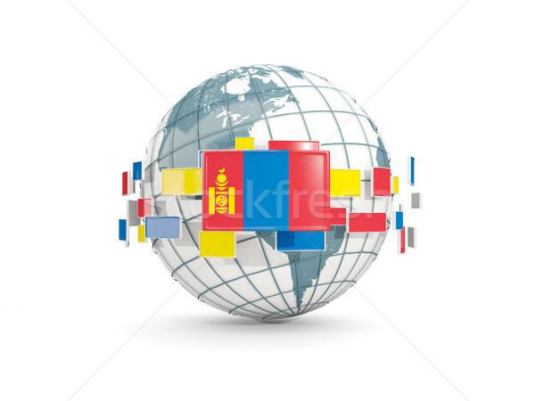 Globe with flag of mongolia isolated on white Stock photo © MikhailMishchenko