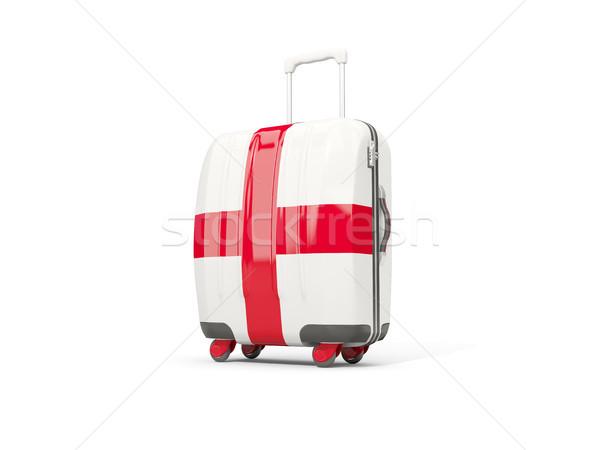 Csomagok zászló Anglia bőrönd izolált fehér Stock fotó © MikhailMishchenko