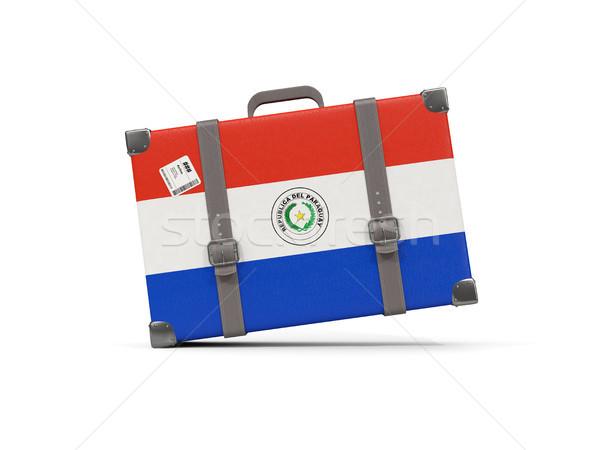 Csomagok zászló Paraguay bőrönd izolált fehér Stock fotó © MikhailMishchenko