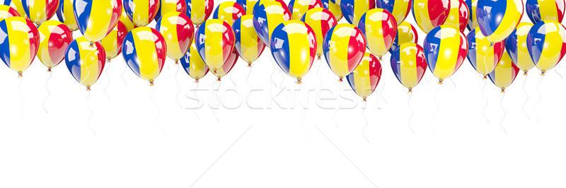 Balonlar çerçeve bayrak Romanya yalıtılmış beyaz Stok fotoğraf © MikhailMishchenko