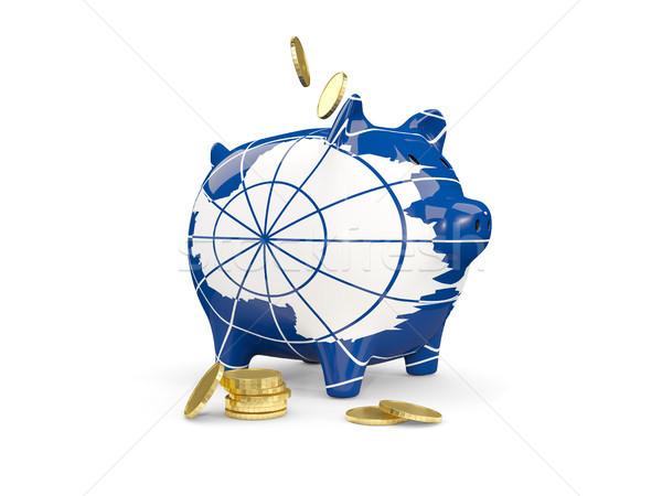 Fat piggy bank with fag of antarctica Stock photo © MikhailMishchenko