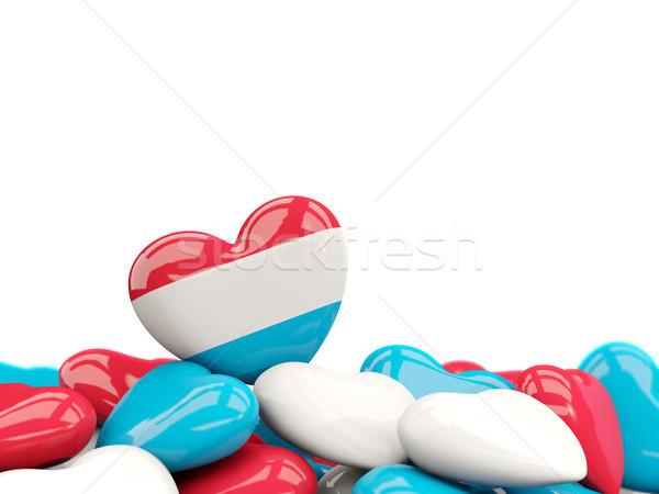 Serca banderą Luksemburg górę serca odizolowany Zdjęcia stock © MikhailMishchenko