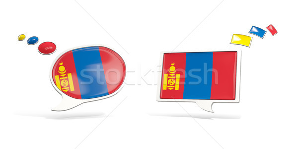 Kettő chat ikonok zászló Mongólia tér Stock fotó © MikhailMishchenko