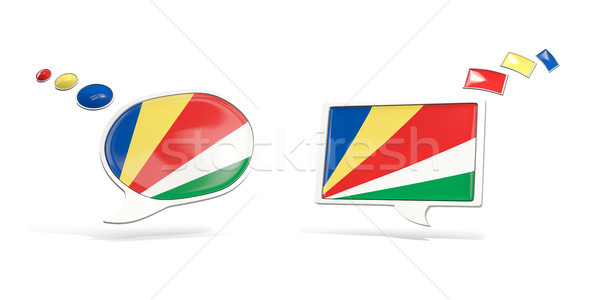 Two chat icons with flag of seychelles Stock photo © MikhailMishchenko