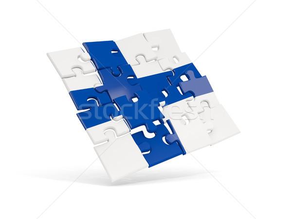 Puzzel vlag Finland geïsoleerd witte 3d illustration Stockfoto © MikhailMishchenko