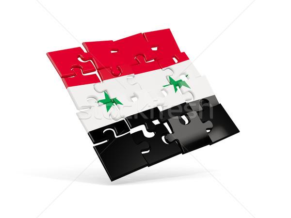 パズル フラグ シリア 孤立した 白 3次元の図 ストックフォト © MikhailMishchenko