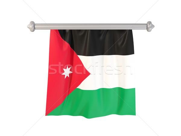 Banderą Jordania odizolowany biały 3d ilustracji etykiety Zdjęcia stock © MikhailMishchenko