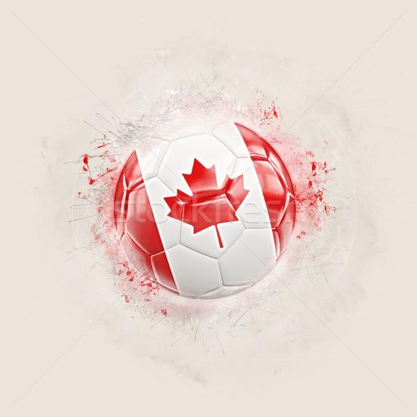 Foto stock: Grunge · futebol · bandeira · Canadá · ilustração · 3d · mundo