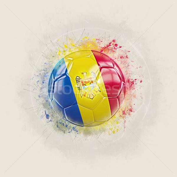 Grunge futball zászló Moldova 3d illusztráció világ Stock fotó © MikhailMishchenko