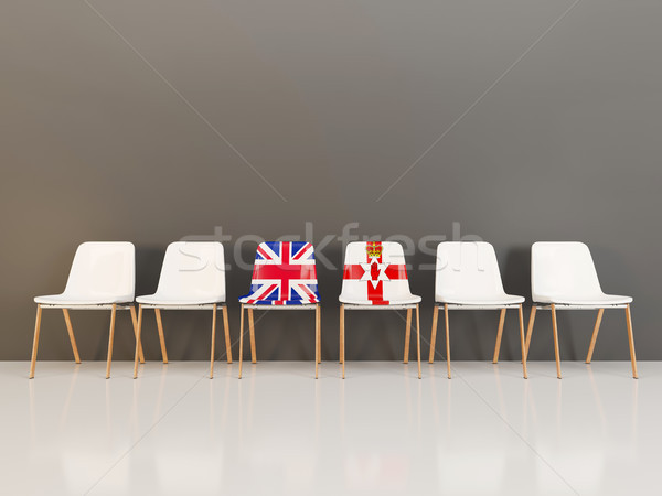 Chaises pavillon Royaume-Uni nord Irlande rangée Photo stock © MikhailMishchenko