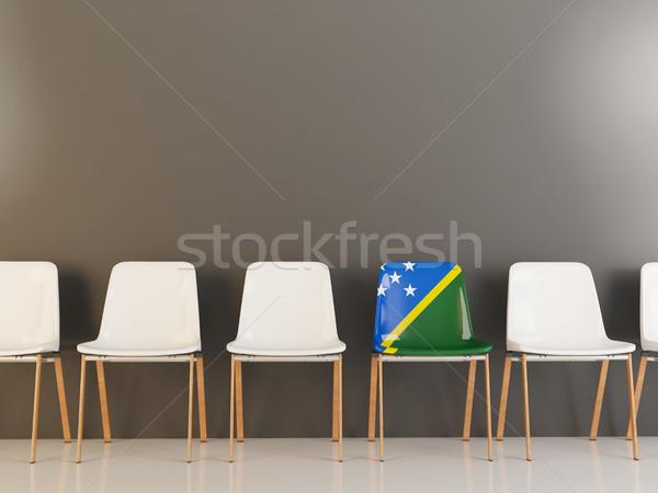 Sedia bandiera Isole Salomone fila bianco sedie Foto d'archivio © MikhailMishchenko