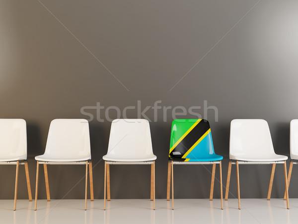 Stoel vlag Tanzania rij witte stoelen Stockfoto © MikhailMishchenko