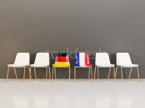 Chairs with flag of Germany and france in a row Stock photo © MikhailMishchenko