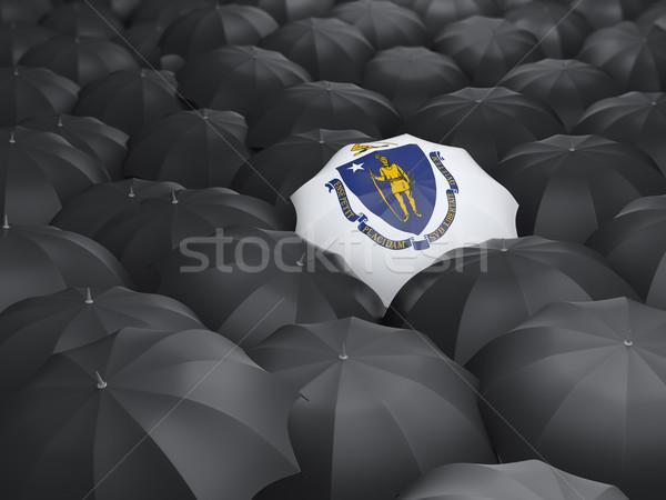Massachusetts bayrak şemsiye Amerika Birleşik Devletleri yerel bayraklar Stok fotoğraf © MikhailMishchenko