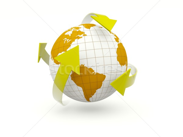 Earth with arrows isolated on white Stock photo © MikhailMishchenko