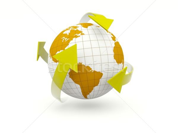 Ziemi odizolowany biały arrow ruchu Zdjęcia stock © MikhailMishchenko