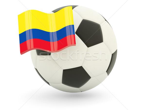 Futbol bayrak Kolombiya yalıtılmış beyaz spor Stok fotoğraf © MikhailMishchenko
