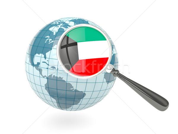 Magnified flag of kuwait with blue globe Stock photo © MikhailMishchenko