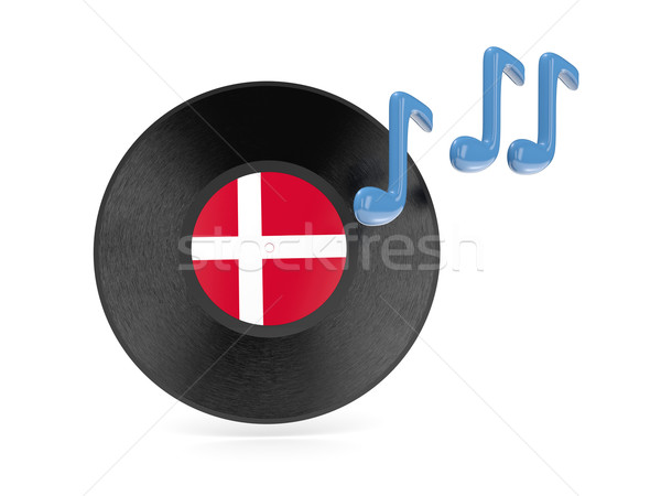 Vinil disk bayrak Danimarka yalıtılmış beyaz Stok fotoğraf © MikhailMishchenko