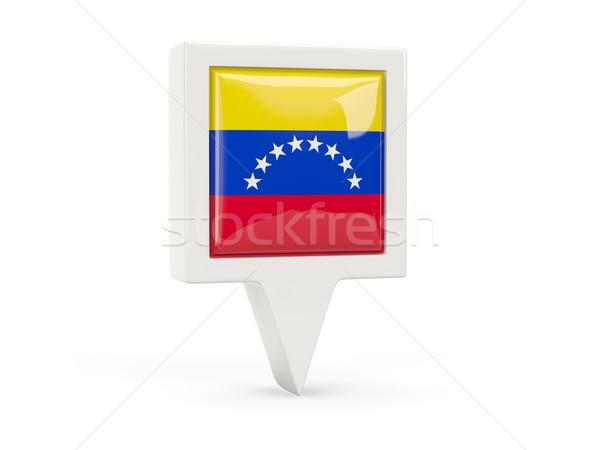 Tér zászló ikon Venezuela izolált fehér Stock fotó © MikhailMishchenko