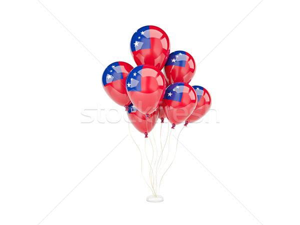 Vliegen ballonnen vlag Samoa geïsoleerd witte Stockfoto © MikhailMishchenko