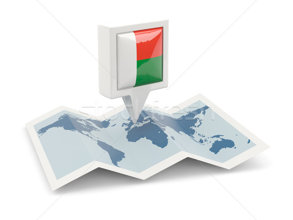 Square pin with flag of madagascar on the map Stock photo © MikhailMishchenko