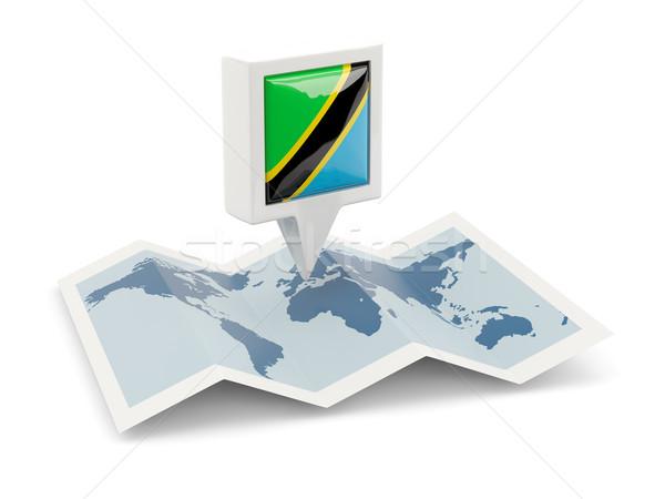 Kare pin bayrak Tanzanya harita seyahat Stok fotoğraf © MikhailMishchenko