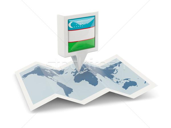 квадратный Pin флаг Узбекистан карта путешествия Сток-фото © MikhailMishchenko