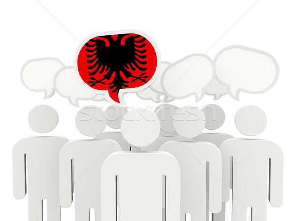 Personas bandera Albania aislado blanco reunión Foto stock © MikhailMishchenko