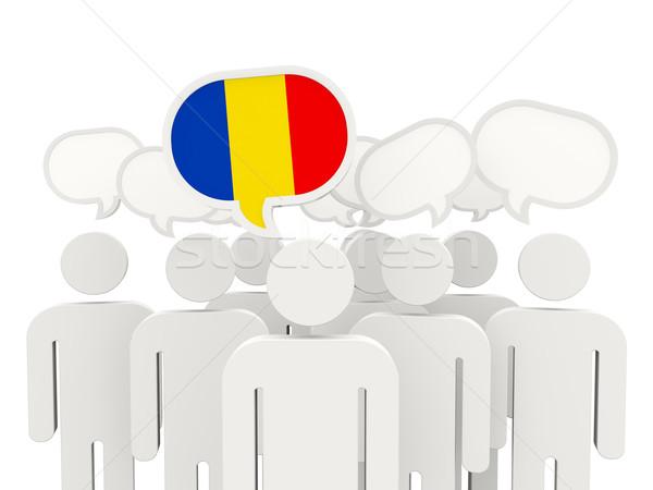 Persone bandiera Romania isolato bianco riunione Foto d'archivio © MikhailMishchenko