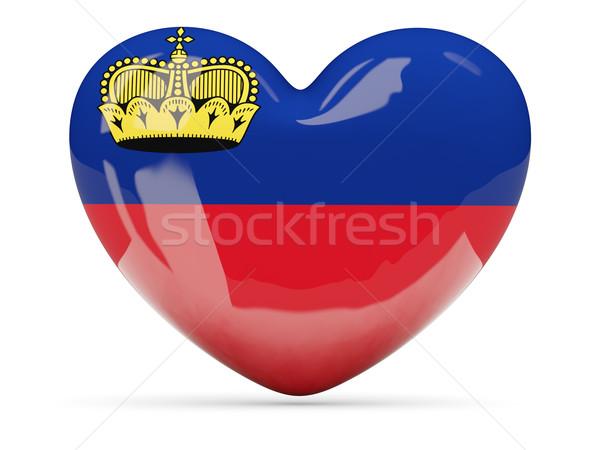 Heart shaped icon with flag of liechtenstein Stock photo © MikhailMishchenko