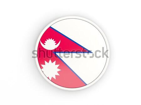 Gomb zászló Nepál fém keret utazás Stock fotó © MikhailMishchenko