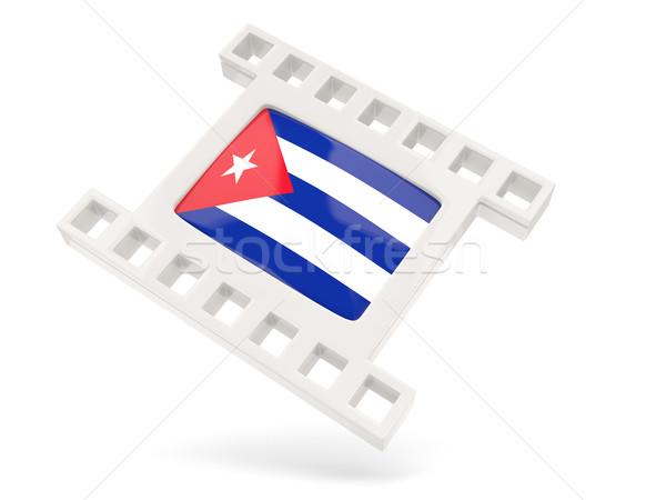 Film icône pavillon Cuba isolé blanche Photo stock © MikhailMishchenko