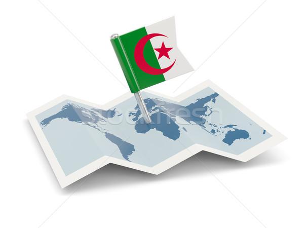 Carte pavillon Algérie isolé blanche Photo stock © MikhailMishchenko