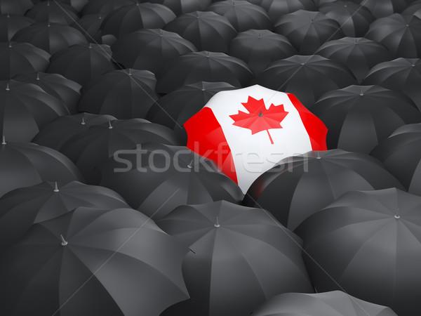 Esernyő zászló Kanada fekete esernyők utazás Stock fotó © MikhailMishchenko