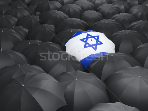 Guarda-chuva bandeira Israel preto guarda-chuvas viajar Foto stock © MikhailMishchenko