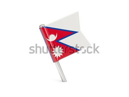 Bandeira pin Nepal isolado branco Foto stock © MikhailMishchenko