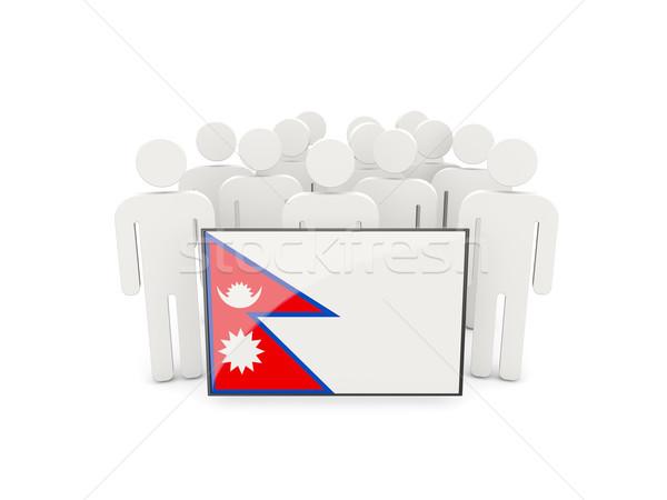 Insanlar bayrak Nepal yalıtılmış beyaz kalabalık Stok fotoğraf © MikhailMishchenko